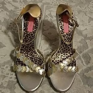 Betsy Johnson Silver/Gold Strappy Heels